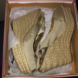 TAN BAMBOO WEDGE HEELS *cheap*